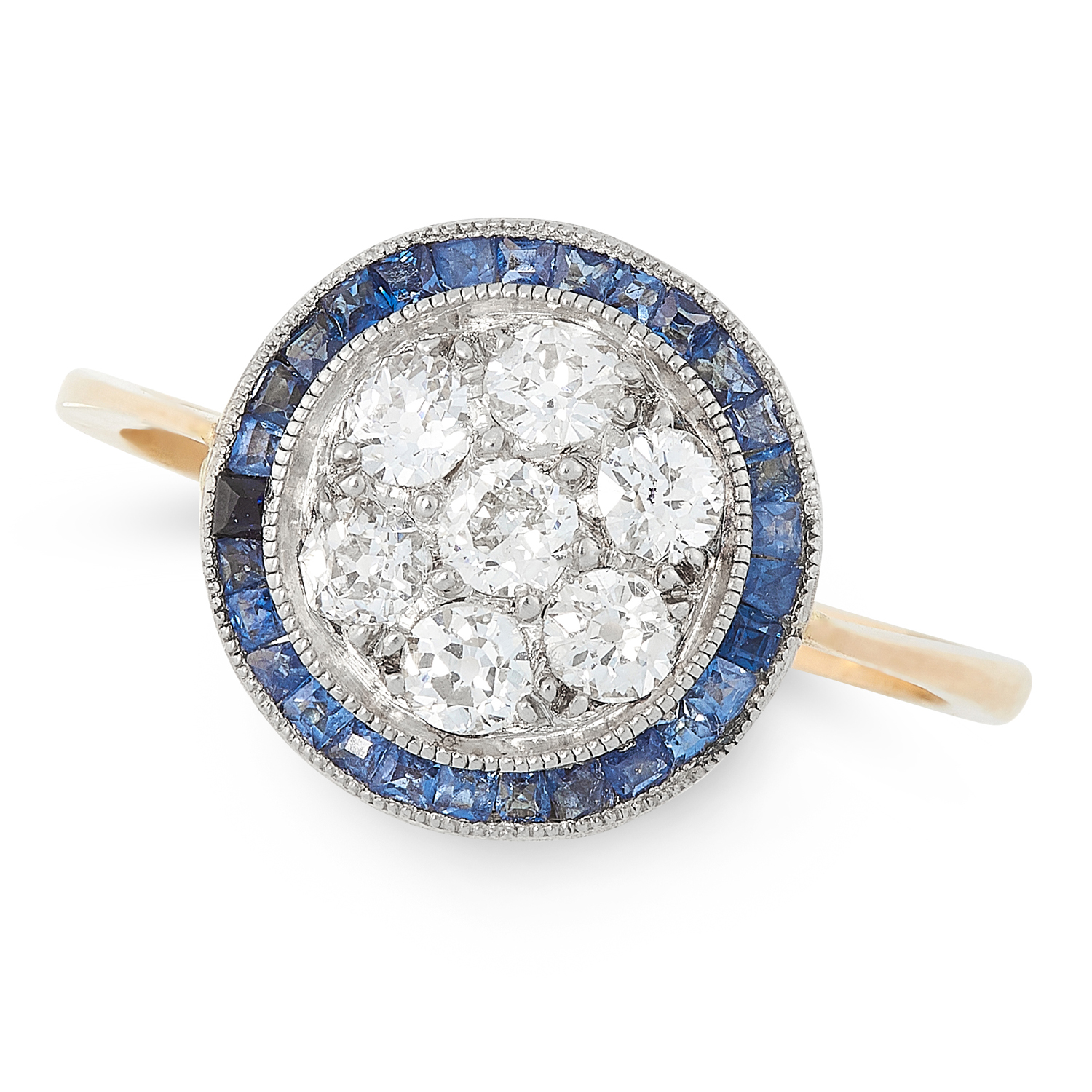 AN ART DECO DIAMOND AND SAPPHIRE RING, EARLY 20TH CENTURY in high carat yellow and white gold, set