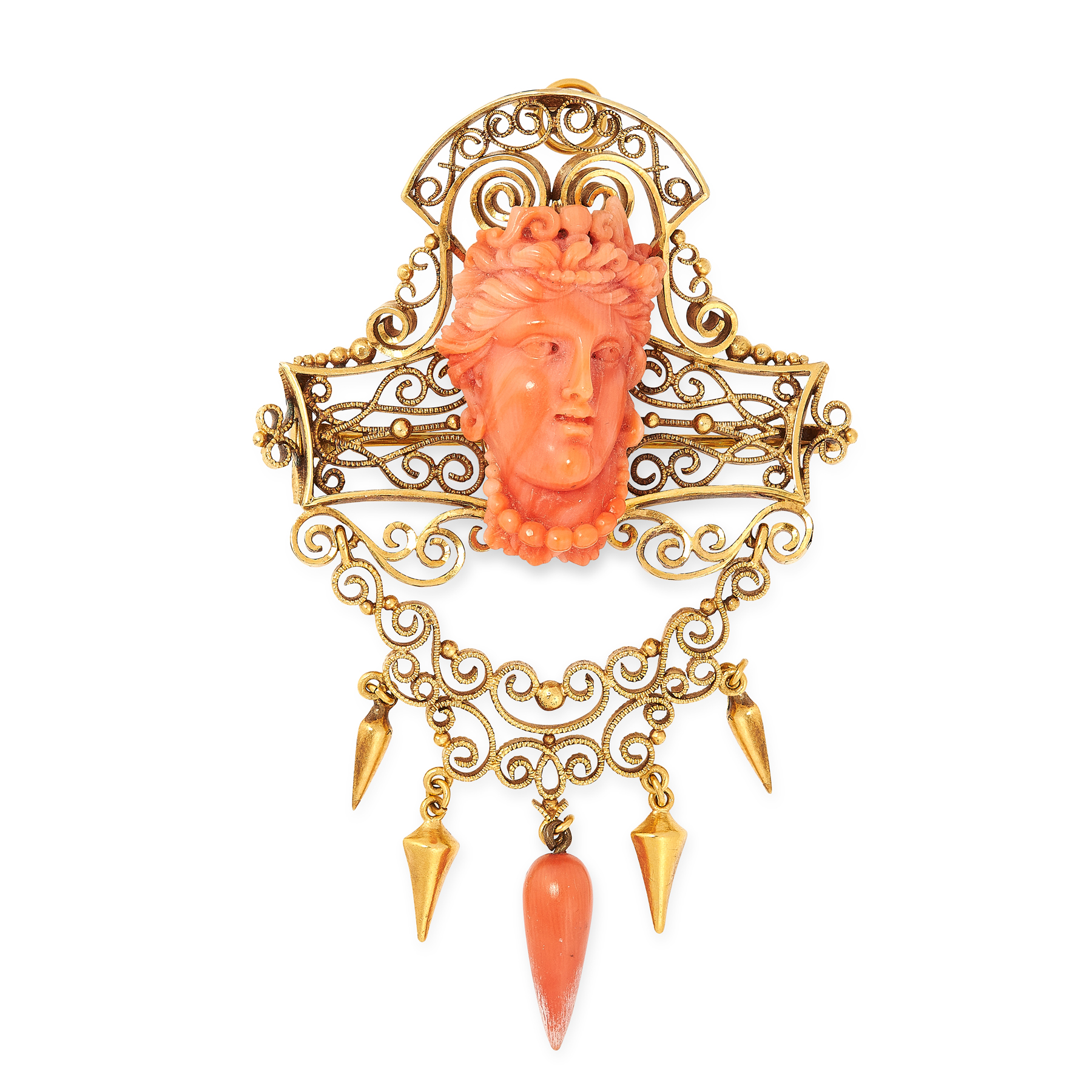 AN ANTIQUE CARVED CORAL DEMI PARURE, 19TH CENTURY in high carat yellow gold, comprising a brooch /