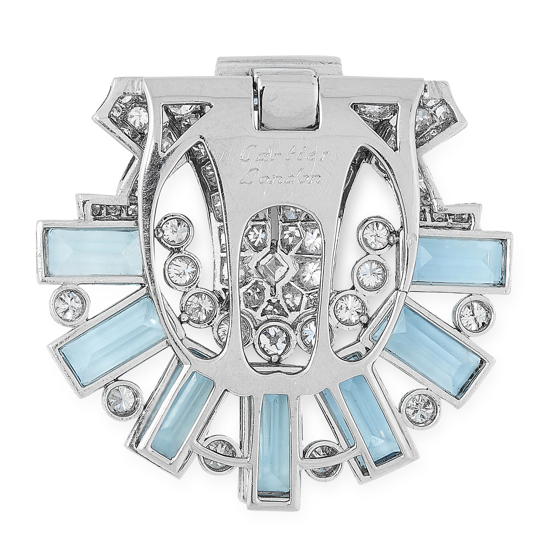 A PAIR OF AQUAMARINE AND DIAMOND CLIP BROOCHES, CARTIER CIRCA 1940 in 18ct white gold, each set with - Image 2 of 2