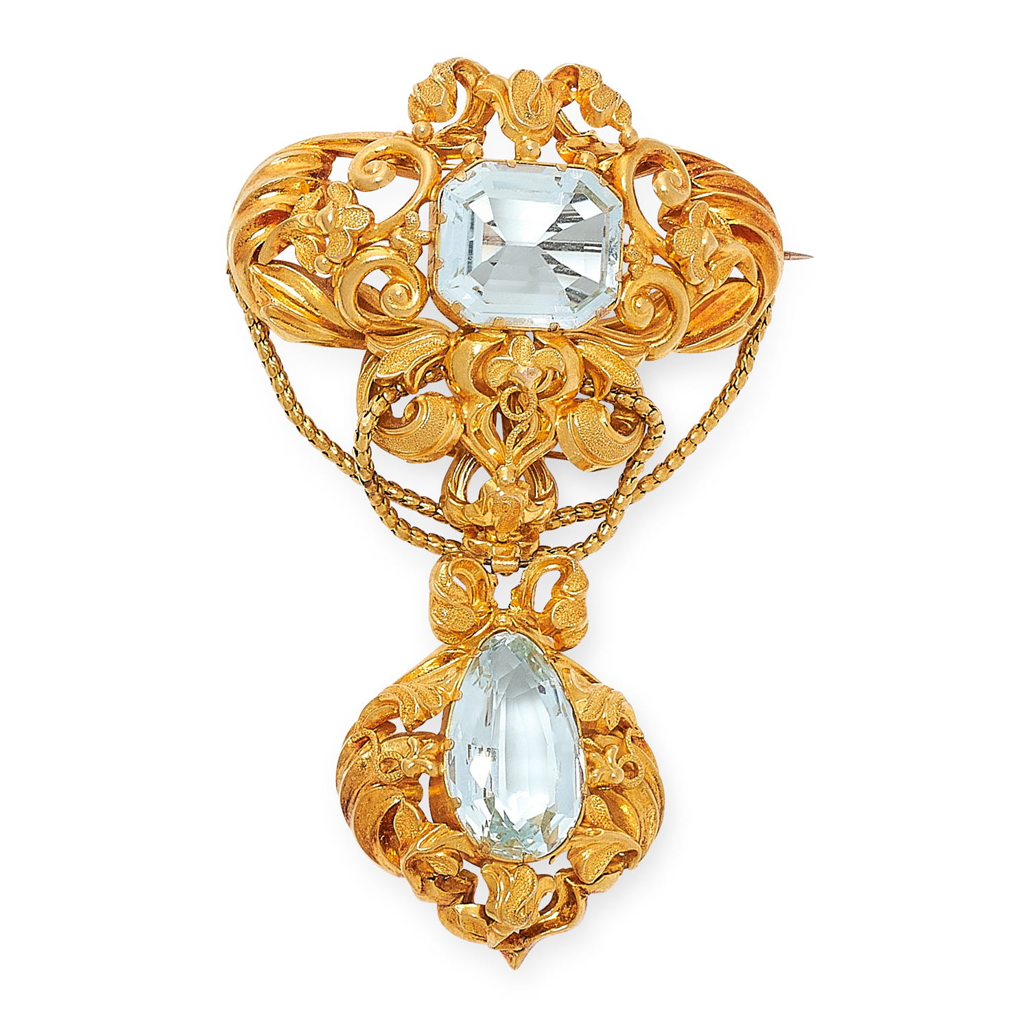 AN ANTIQUE AQUAMARINE BROOCH, 19TH CENTURY in yellow gold, the articulated body set with pear and