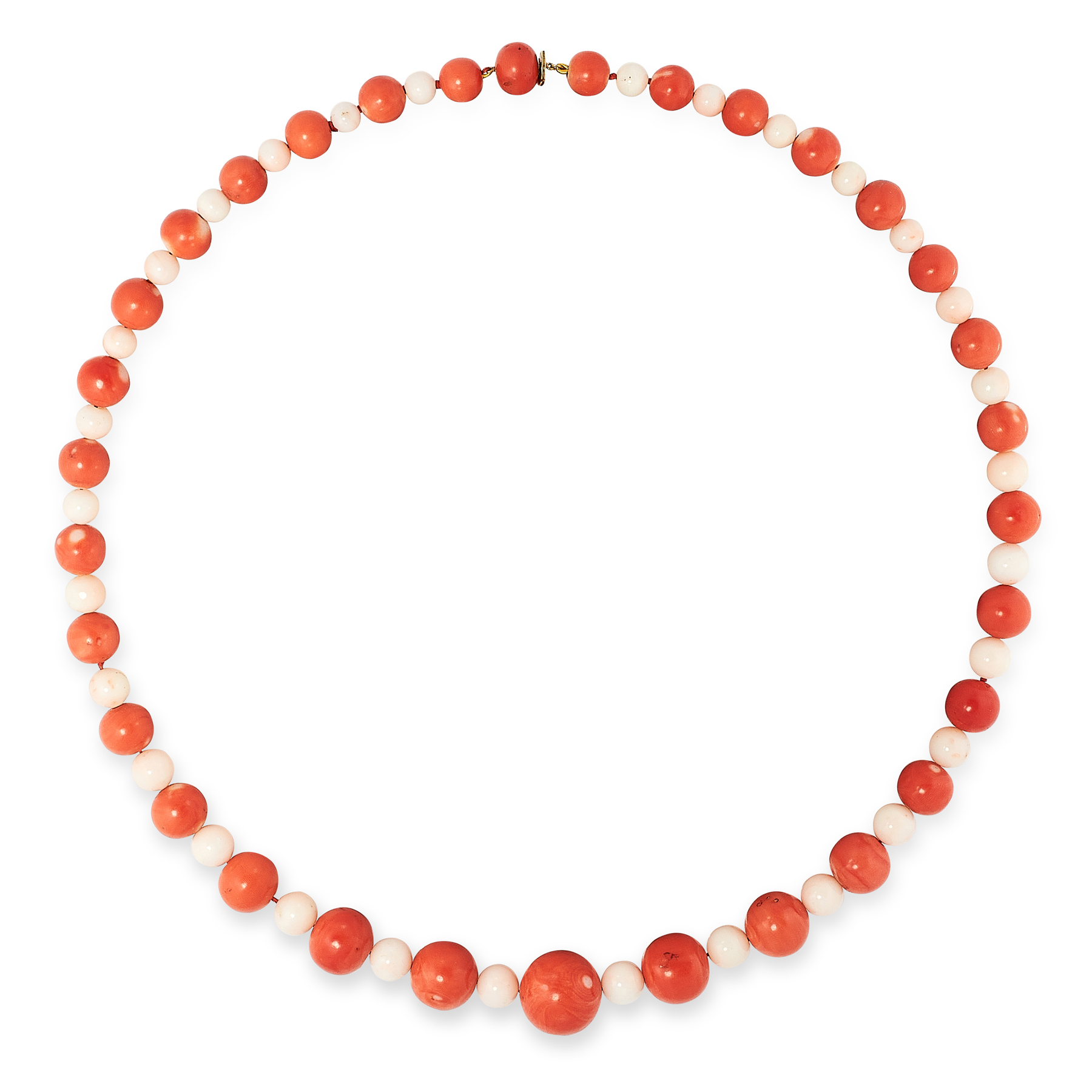 AN ANTIQUE CORAL AND ANGEL CORAL BEAD NECKLACE comprising a single row of sixty-two graduated