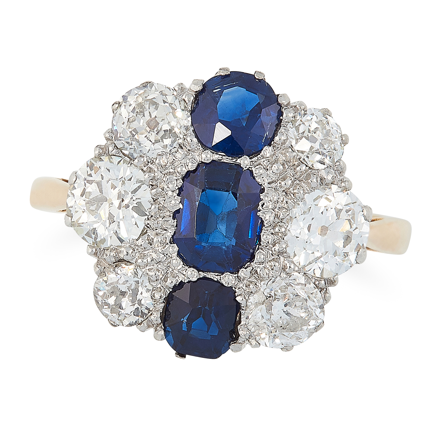 A SAPPHIRE AND DIAMOND DRESS RING, MID 20TH CENTURY in high carat yellow gold, set with a trio of