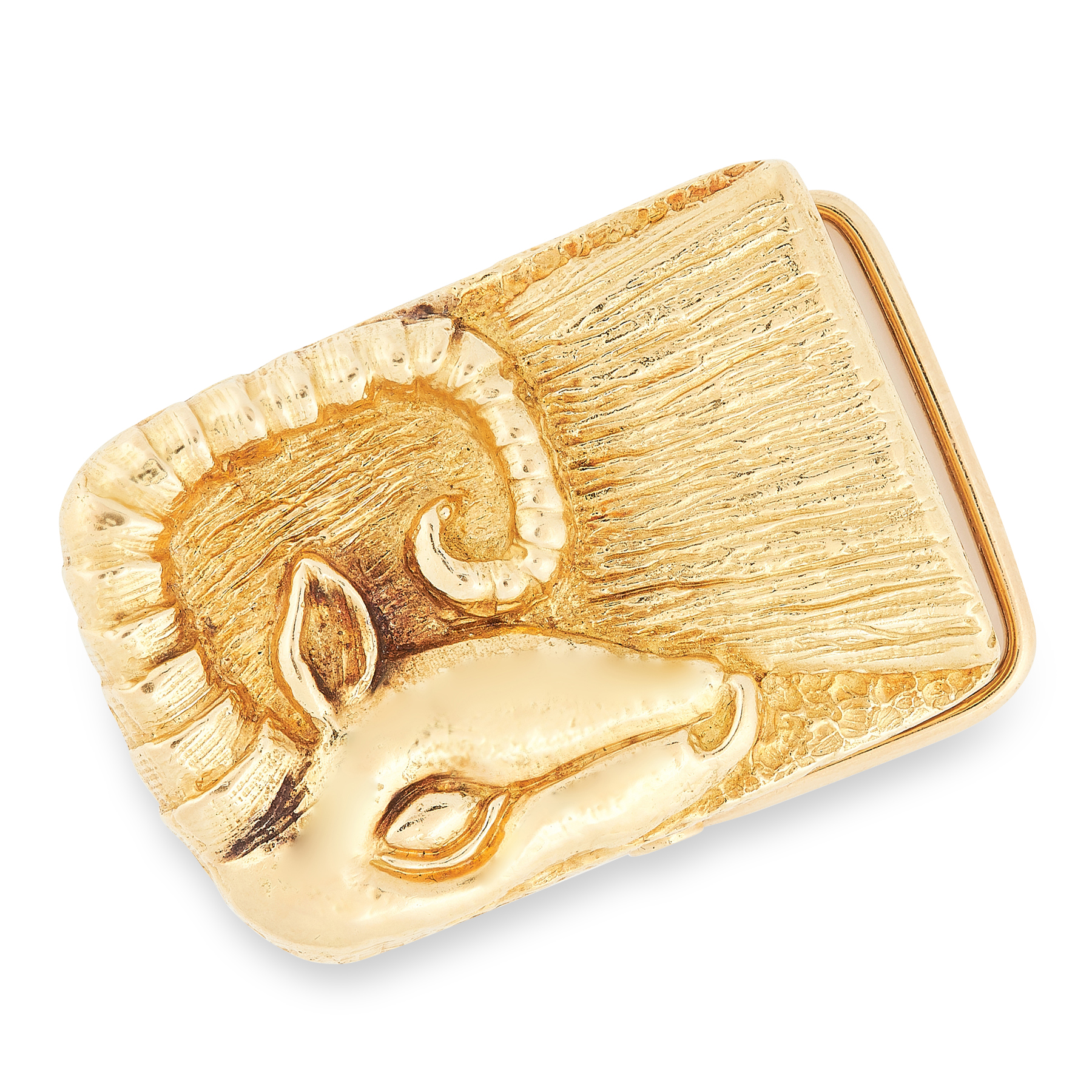 A VINTAGE BELT BUCKLE, DAVID WEBB in 18ct yellow gold, the rectangular body textured in high