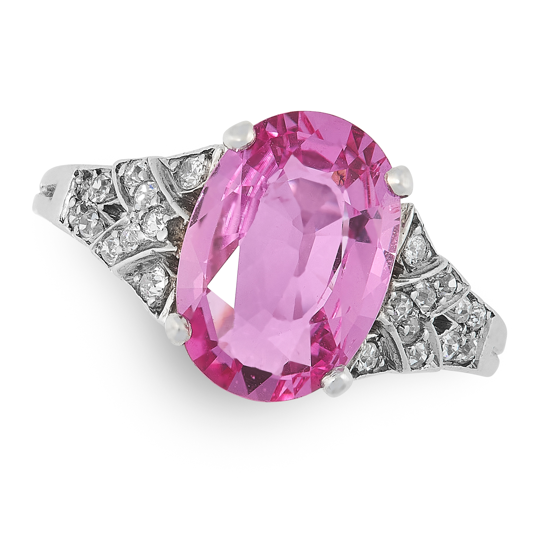 AN UNHEATED PINK SAPPHIRE AND DIAMOND RING in white gold, set with an oval cut pink sapphire of 3.76