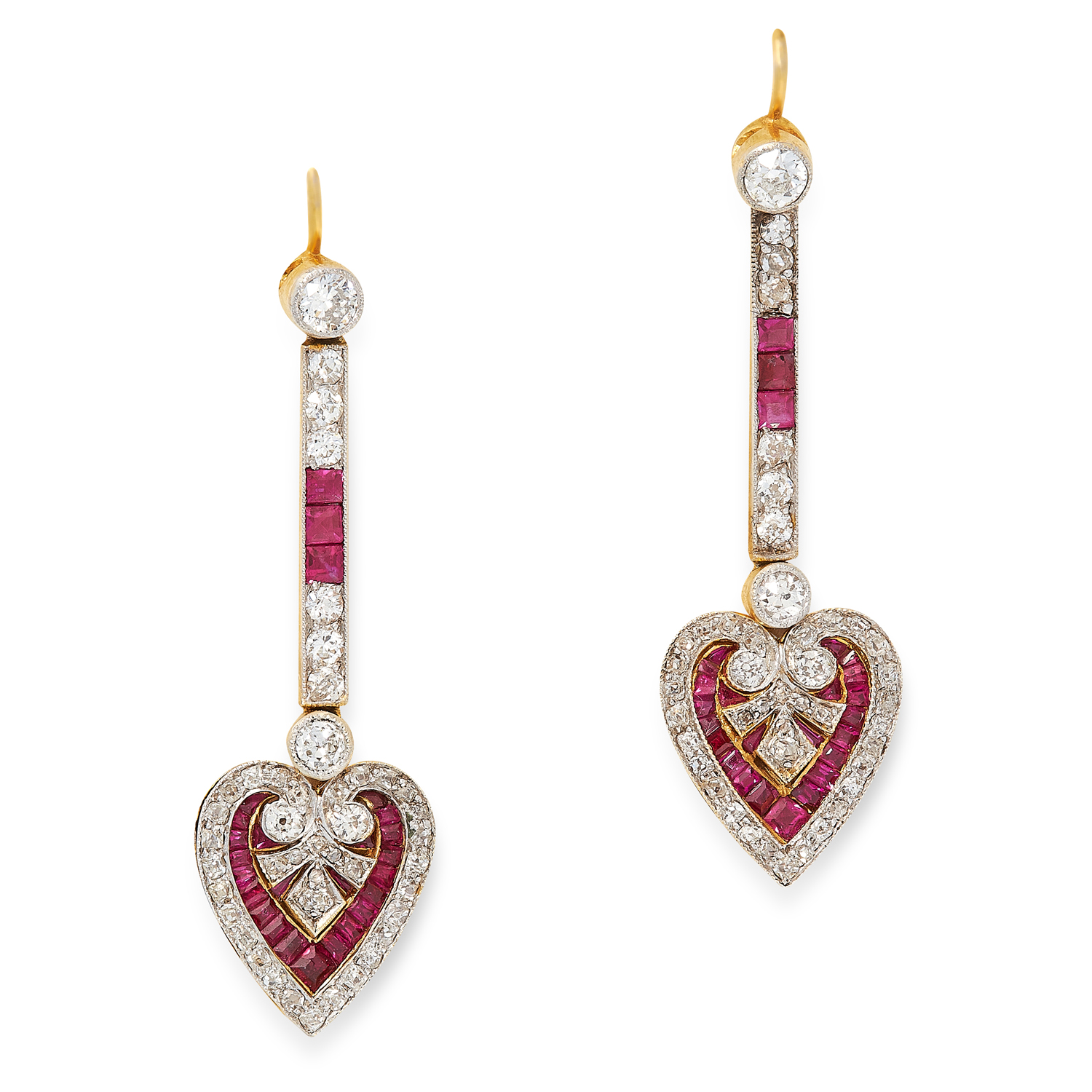 A PAIR OF RUBY AND DIAMOND DROP EARRINGS CIRCA 1940 in high carat yellow gold, designed as heart