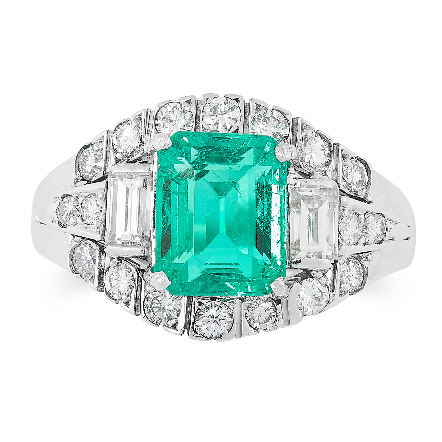 A COLOMBIAN EMERALD AND DIAMOND RING CIRCA 1950 set with an emerald cut emerald of 2.14 carats