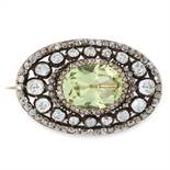 AN ANTIQUE CHRYSOLITE AND DIAMOND BROOCH, 19TH CENTURY in high carat yellow gold and silver, set