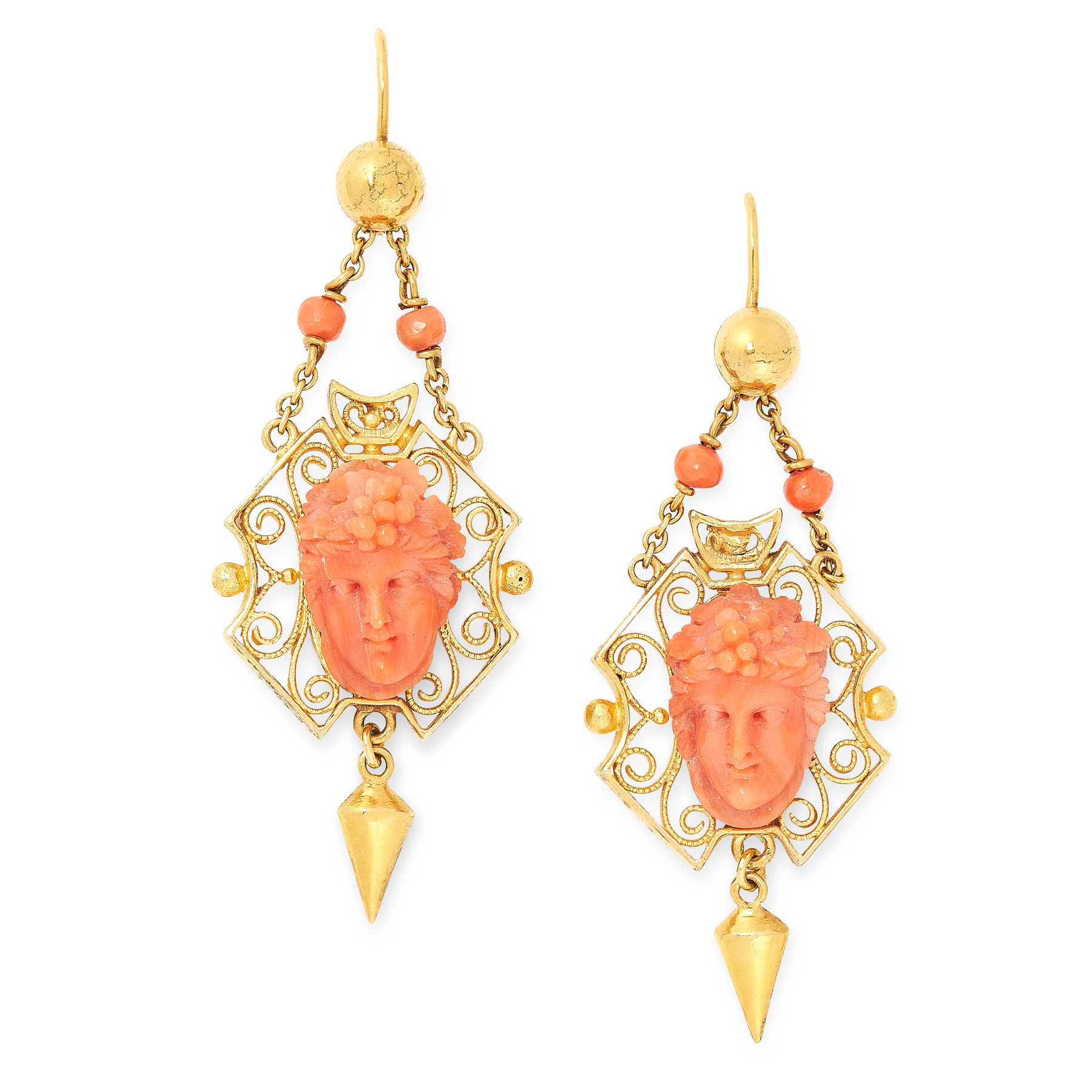 AN ANTIQUE CARVED CORAL DEMI PARURE, 19TH CENTURY in high carat yellow gold, comprising a brooch / - Image 2 of 2