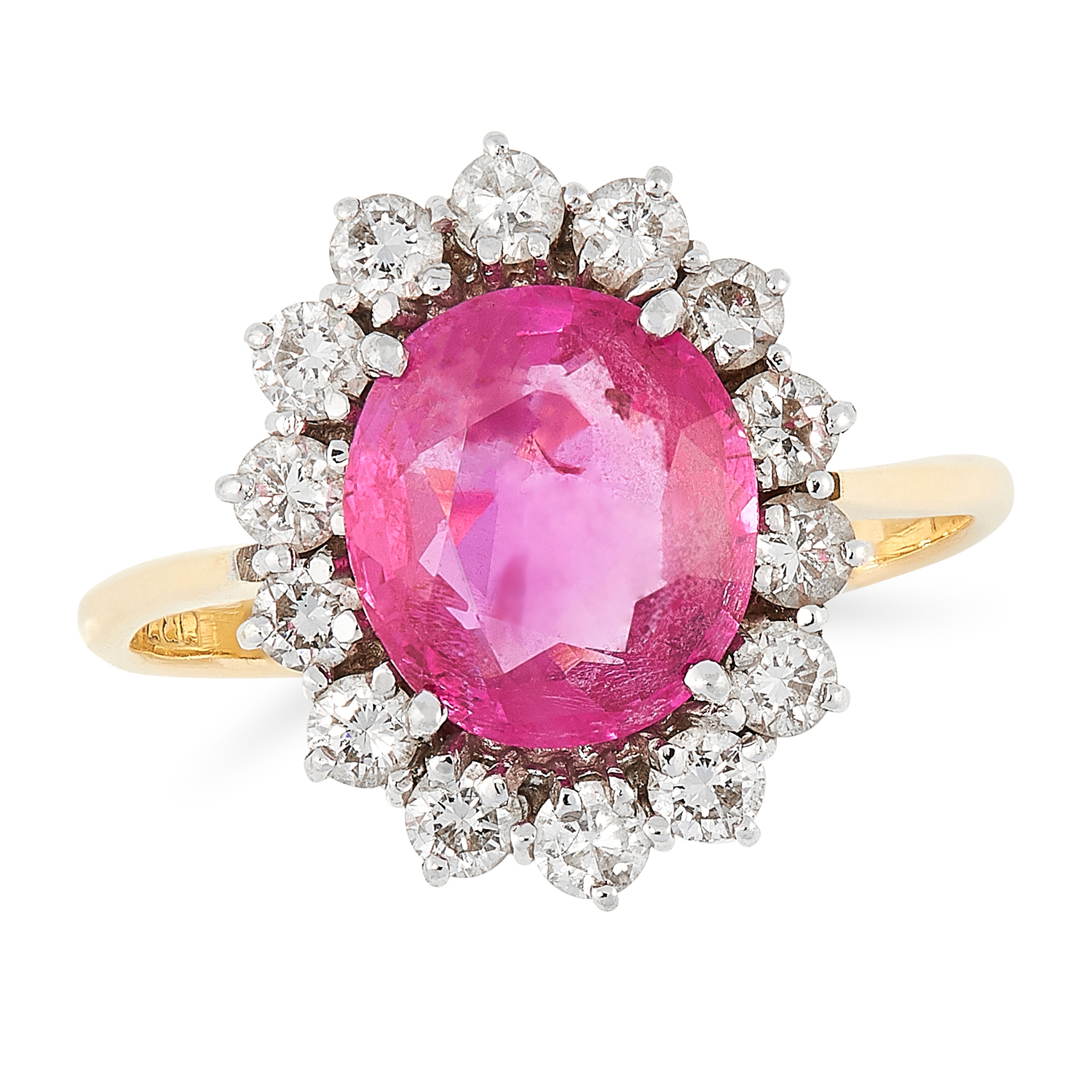 A BURMA NO HEAT PINK SAPPHIRE AND DIAMOND CLUSTER RING set with an oval cut pink sapphire of 1.66
