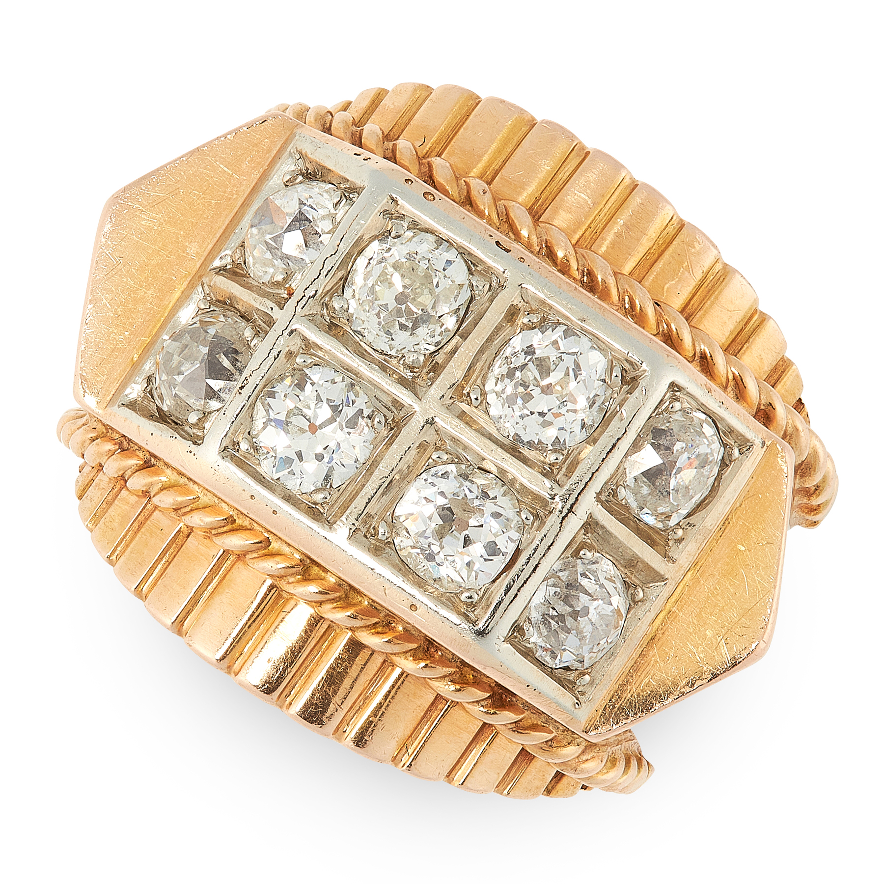 A RETRO DIAMOND BOMBE DRESS RING, 1940s in 18ct yellow gold, the face set with eight old cut