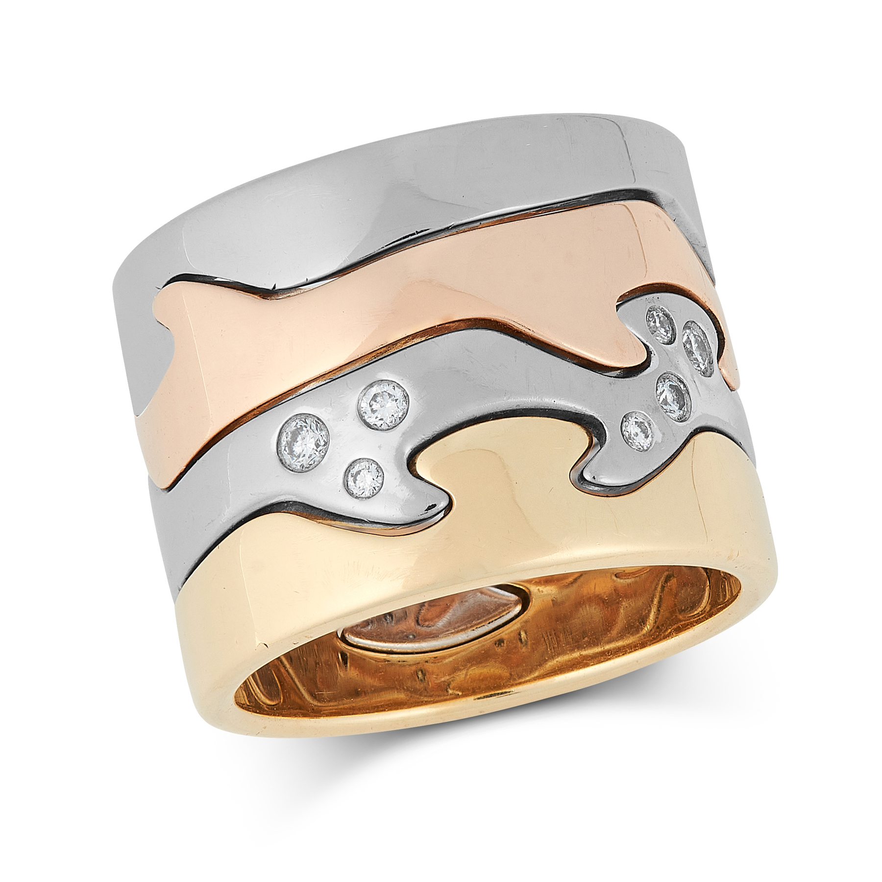 A DIAMOND FUSION STACK RING, GEORG JENSEN in 18ct yellow, white and rose gold, comprising four,