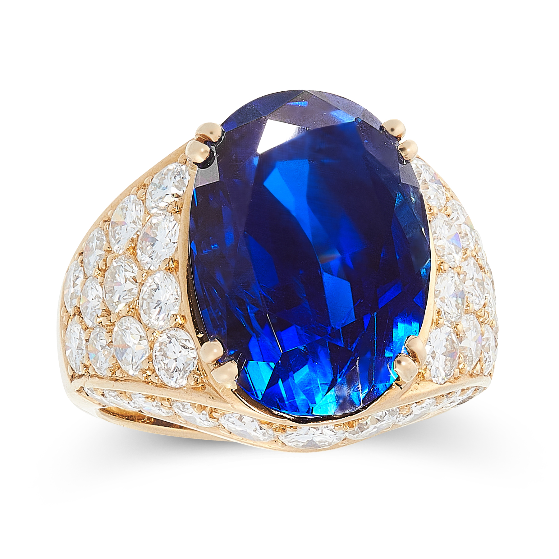 A 13.38 CARAT BURMA NO HEAT SAPPHIRE AND DIAMOND RING, VAN CLEEF & ARPELS set with an oval cut