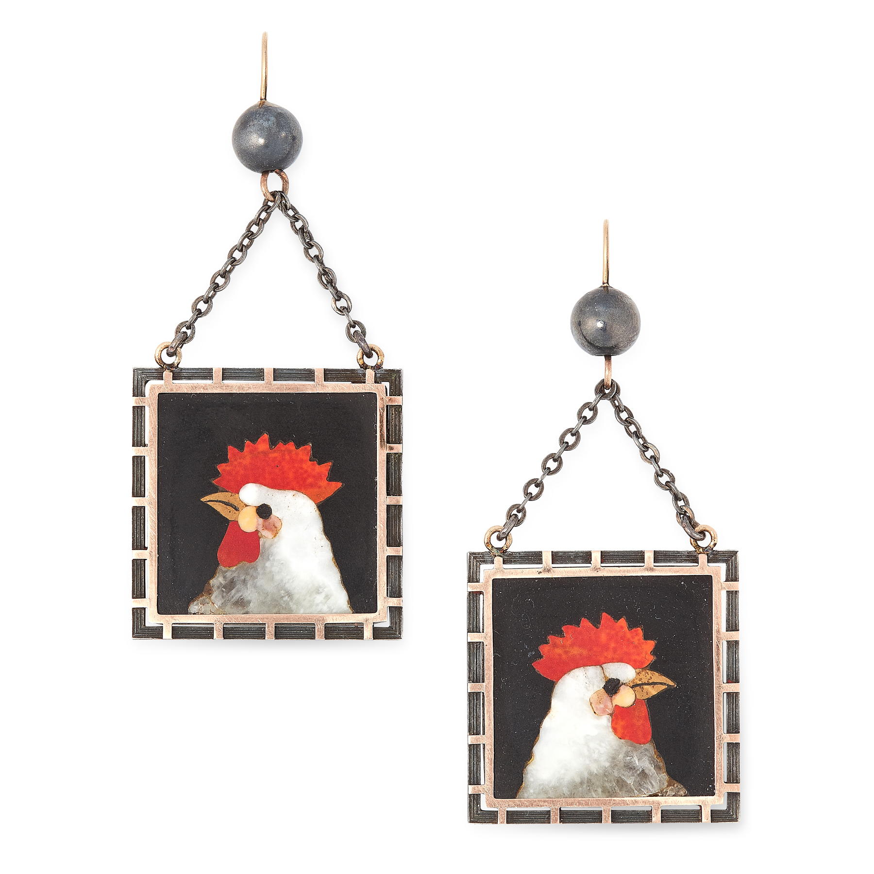 A PAIR OF ANTIQUE PIETRA DURA CHICKEN EARRINGS, LATE 19TH CENTURY each of square design, inlaid with