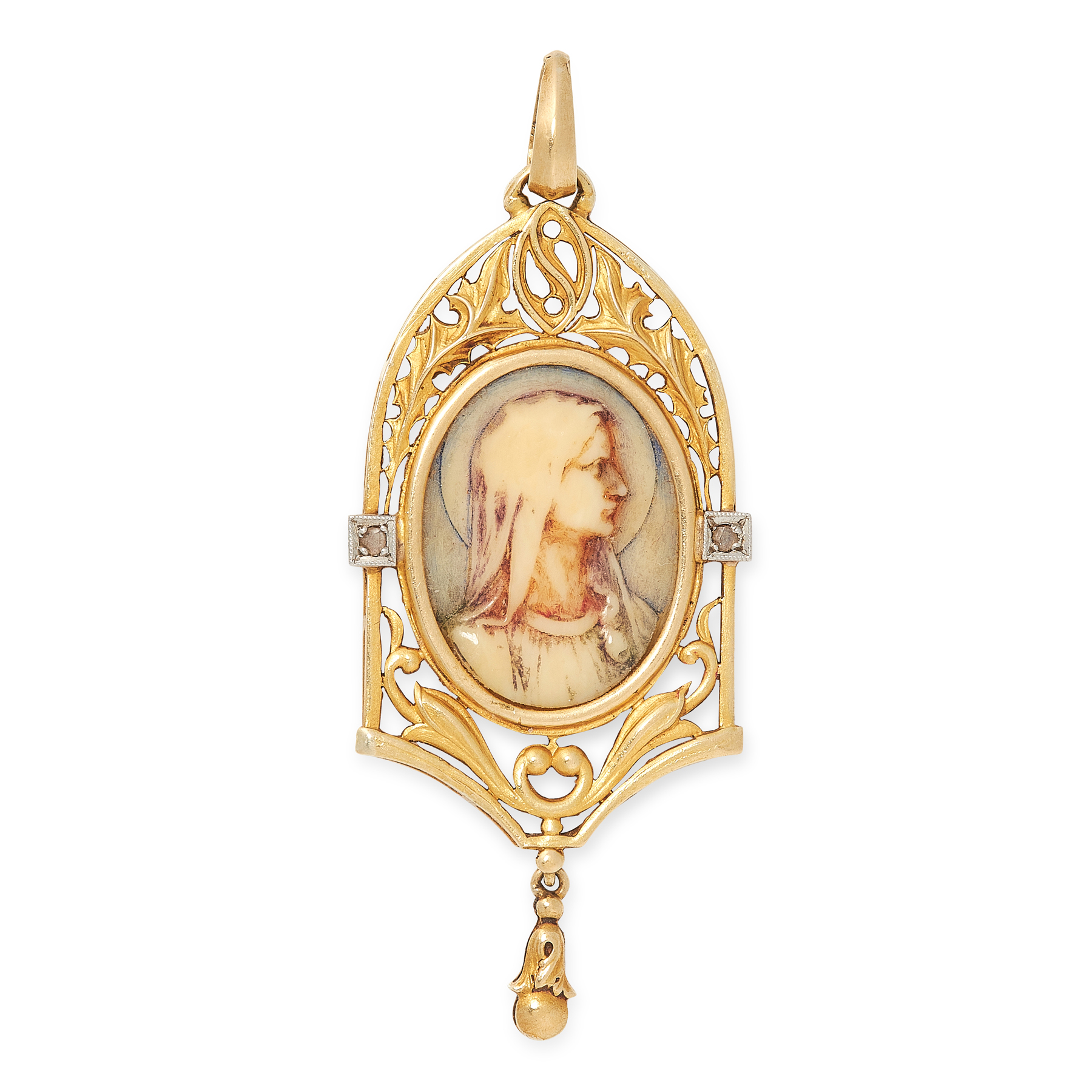 AN ART NOUVEAU DIAMODN CAMEO PENDANT in yellow gol