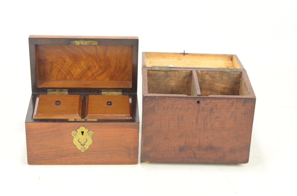 Lot 26 - A 19th century plum pudding mahogany and amboyna domed two division tea caddy, height 18cm,