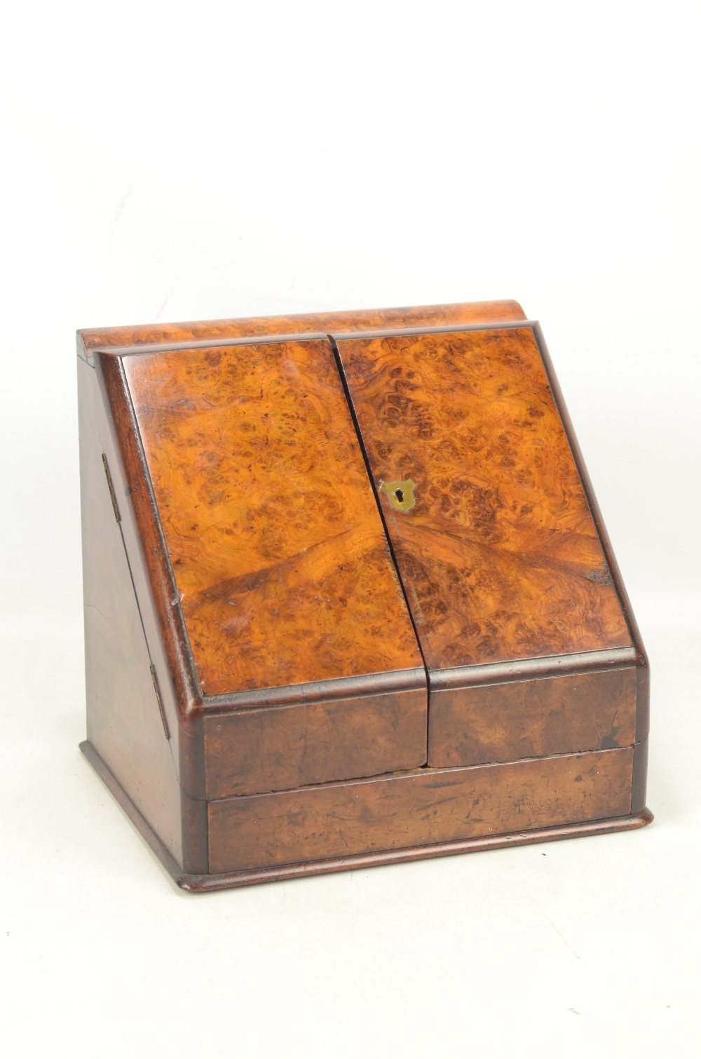 Lot 7 - A mid-Victorian burr walnut stationery cabinet,