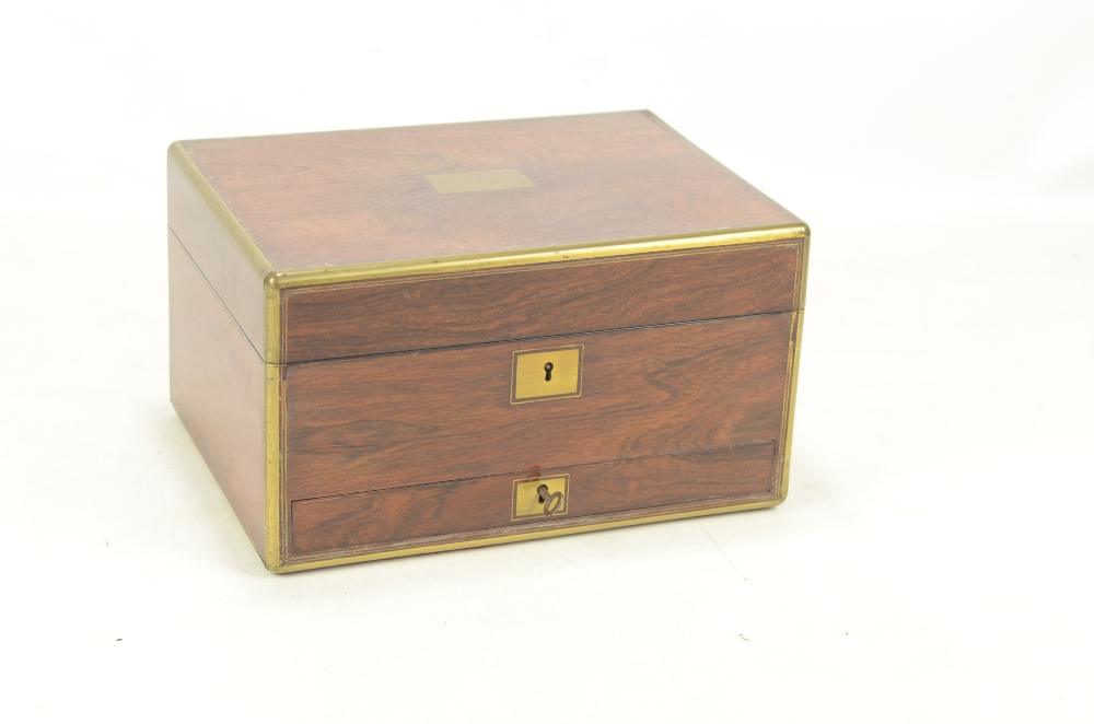 Lot 12 - An early Victorian rosewood and brass bound travelling chest or vanity box,