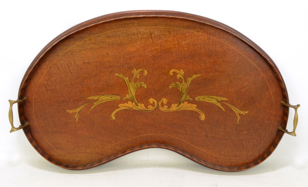 Lot 33 - An Edwardian mahogany and inlaid kidney shaped twin handled tray with floral decorated, width 68cm.
