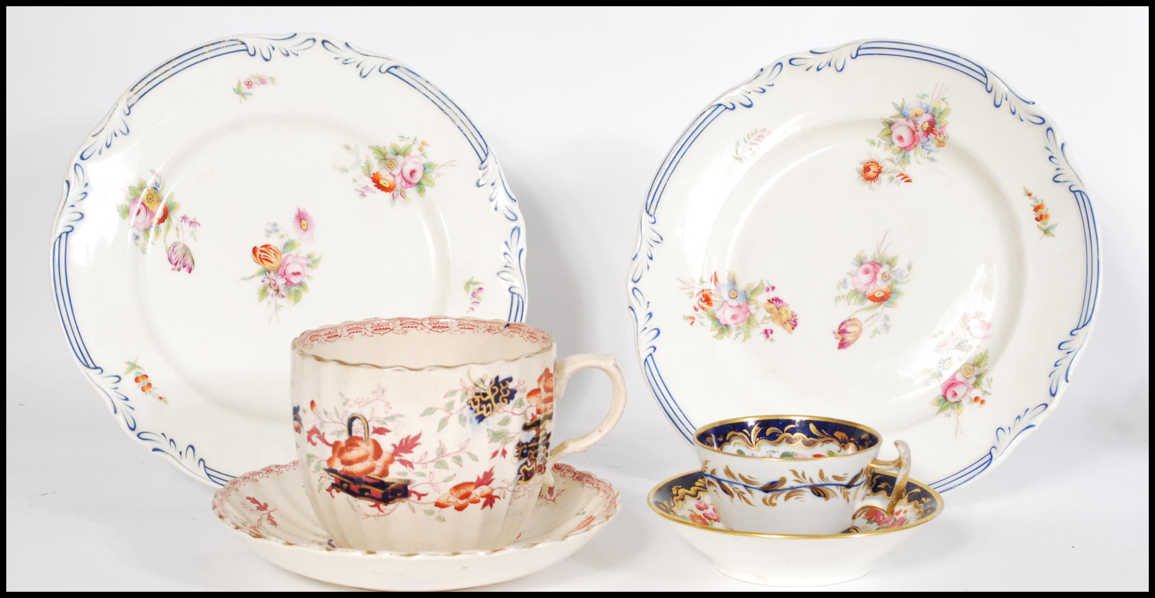 Lot 26 - A group of Victorian ceramics to include a pair of believed Coalport hand painted plates, a large