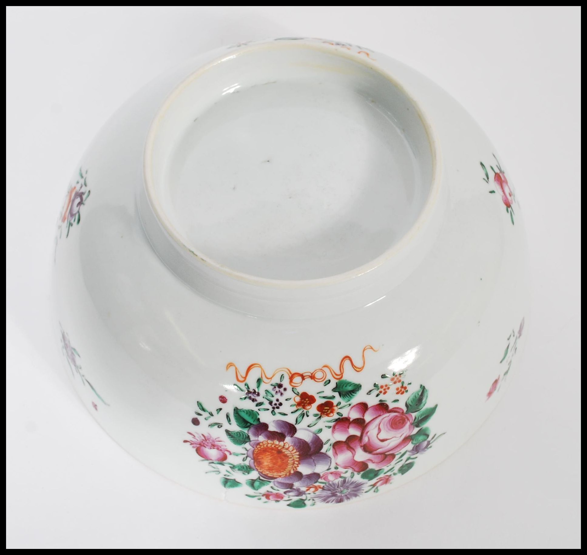 Lot 3 - An 18th century Cantonese large Chinese ceramic bowl having hand painted floral sprays and famille