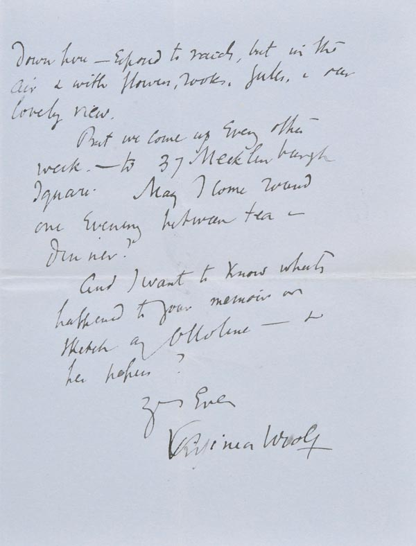 Lot 929 - *Woolf (Virginia, 1882-1941). Autograph letter signed 'Virginia Woolf', Monks House, Rodmell, Lewes,