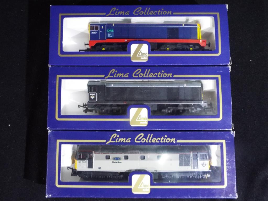 Lot 4 - Model Railways - three Lima OO gauge diesel locomotives to include B.R. Mainline op.no.