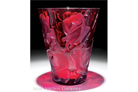A Lalique Ispahan Red Crystal Vase Engraved Lalique France