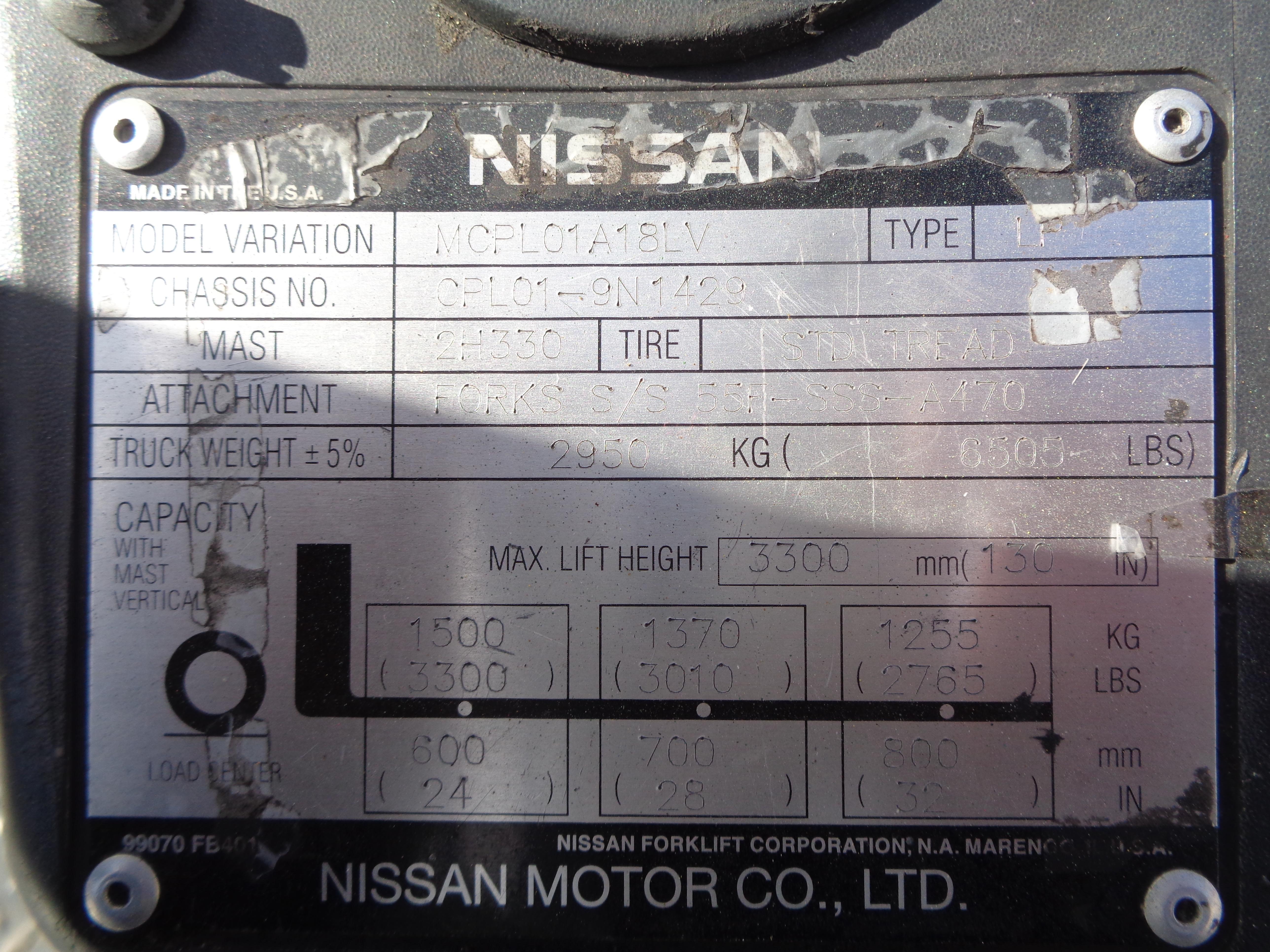 Lot 51 - Nissan MCPL01A18LV 3500 lb Forklift