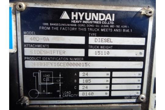 Lot 37 - 2015 Hyundai 40D-9A 9,000lb Forklift