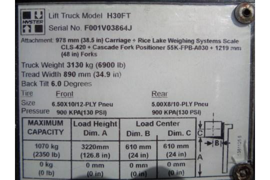 Lot 42 - 2011 Hyster H30FT 3,000lb Forklift