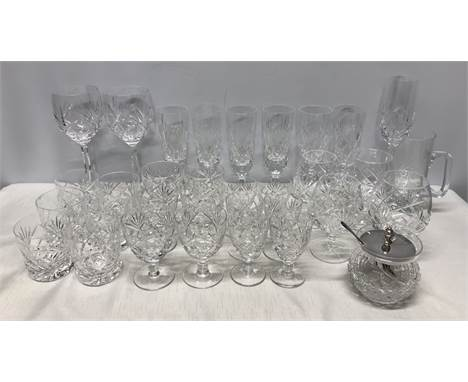Selection of Royal Brierley crystal drinking glassware, Whisky, Brandy, Champagne, preserve jar, mug etc. Condition ReportOne