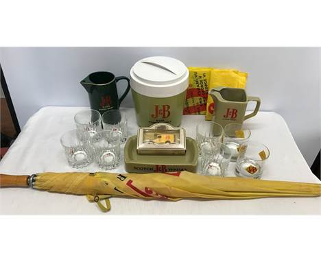 Breweriana advertising selection J and B rare scotch whisky, ice bucket, jugs, ashtray, umbrella. whisky tumbler glasses, die