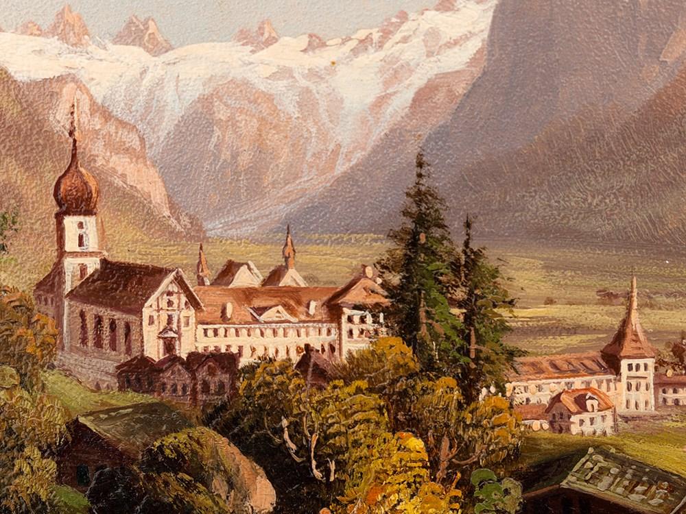 Hubert Sattler Oil Painting Monastery Of Engelberg C