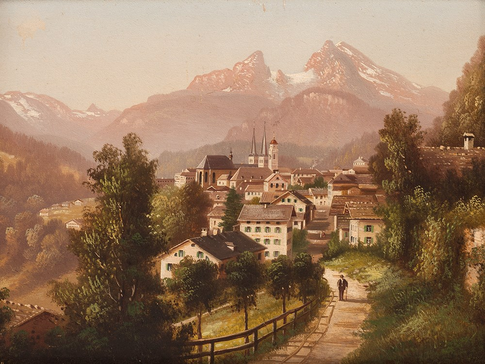 Hubert Sattler Oil Painting Berchtesgaden Around 1900