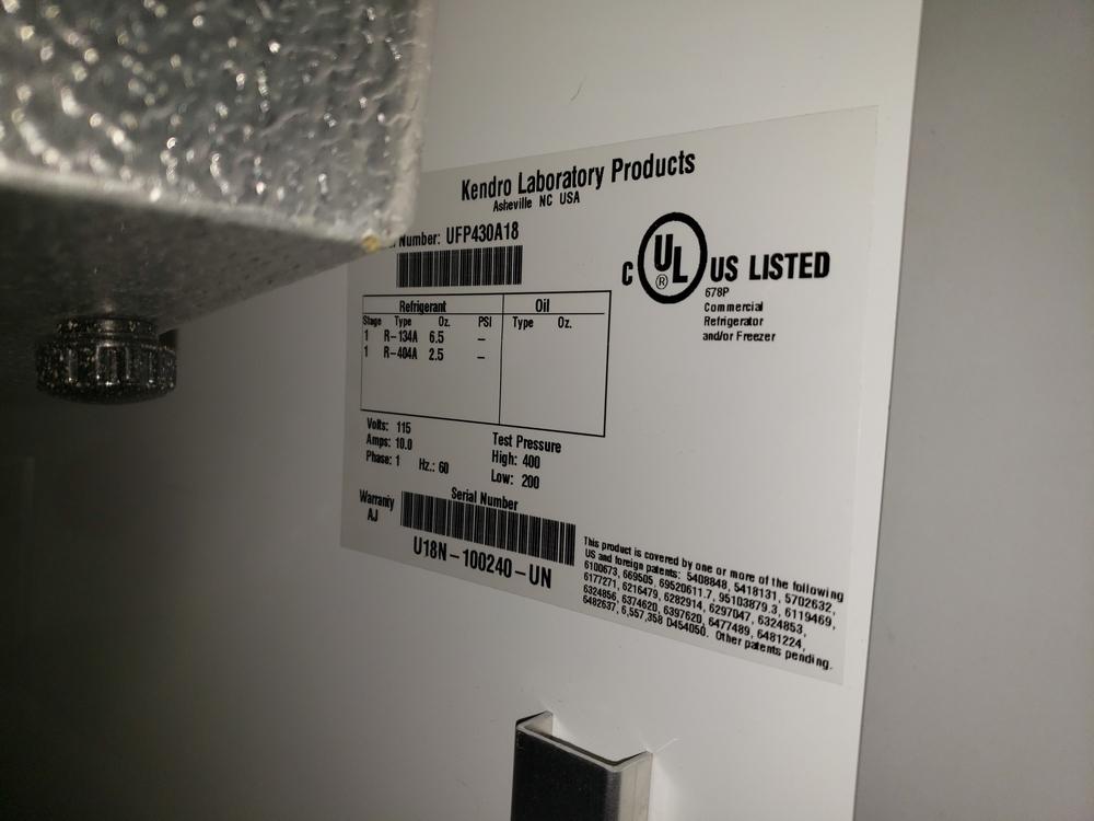 Revco refrigerator, model UFP430A18, R134a refrigerant, 115 volt, serial# U18N-100240-UN. - Image 7 of 9