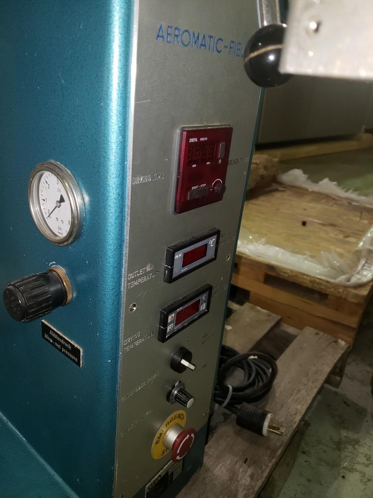 Aeromatic fluid bed dryer, model STREA1, with (2) plastic shells, top spray gun, 1 kw heater, 110 - Image 4 of 10