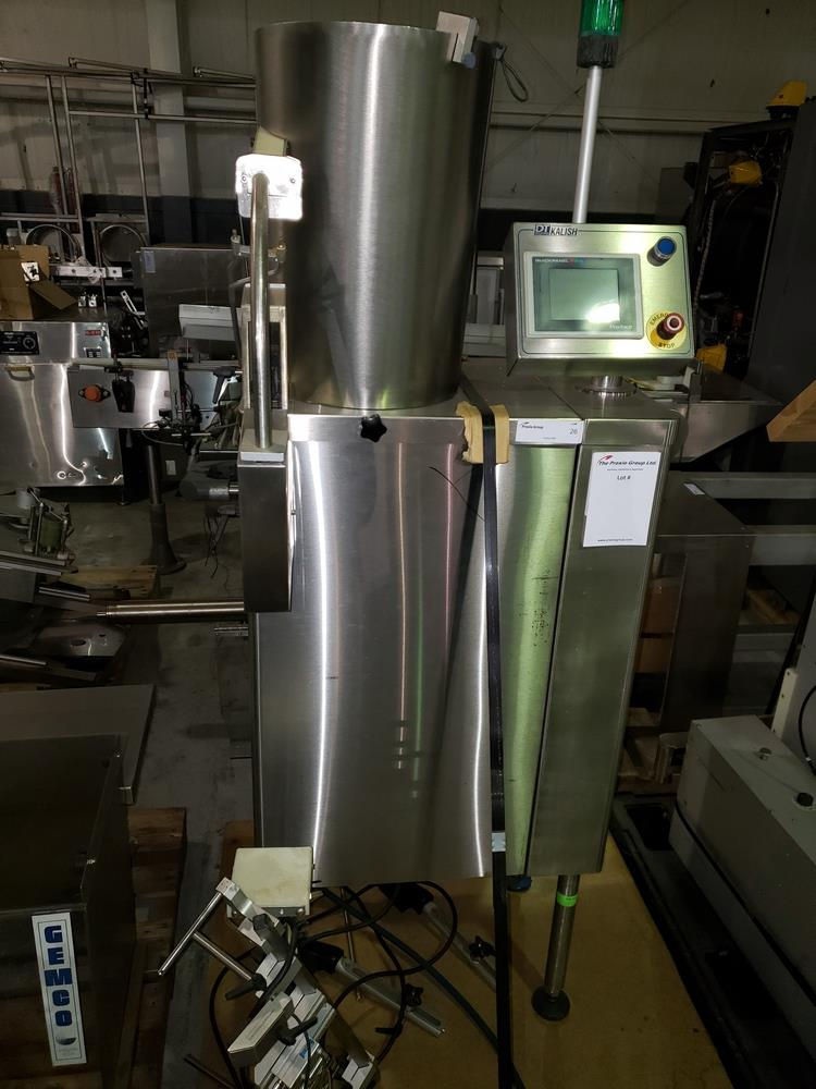 DT Kalish desiccant feeder, model 8331,designed for barrel canisters, with rotary bowl feeder and