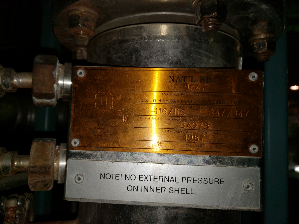 Finn Aqua single effect WFI still, model 200-H-1, single effect with heat exchanger, rated 116 psi - Image 6 of 8