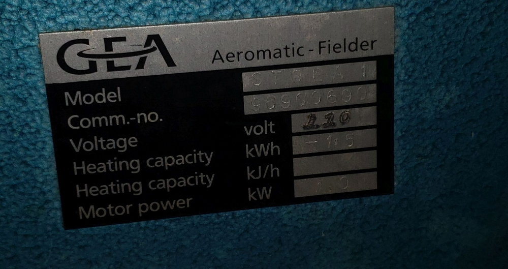Aeromatic fluid bed dryer, model STREA1, with (2) plastic shells, top spray gun, 1 kw heater, 110 - Image 6 of 10