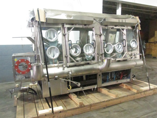 Bausch+Stroebel vial filling line, with model FAW1120 rotary vial washer, serial# 50585, model