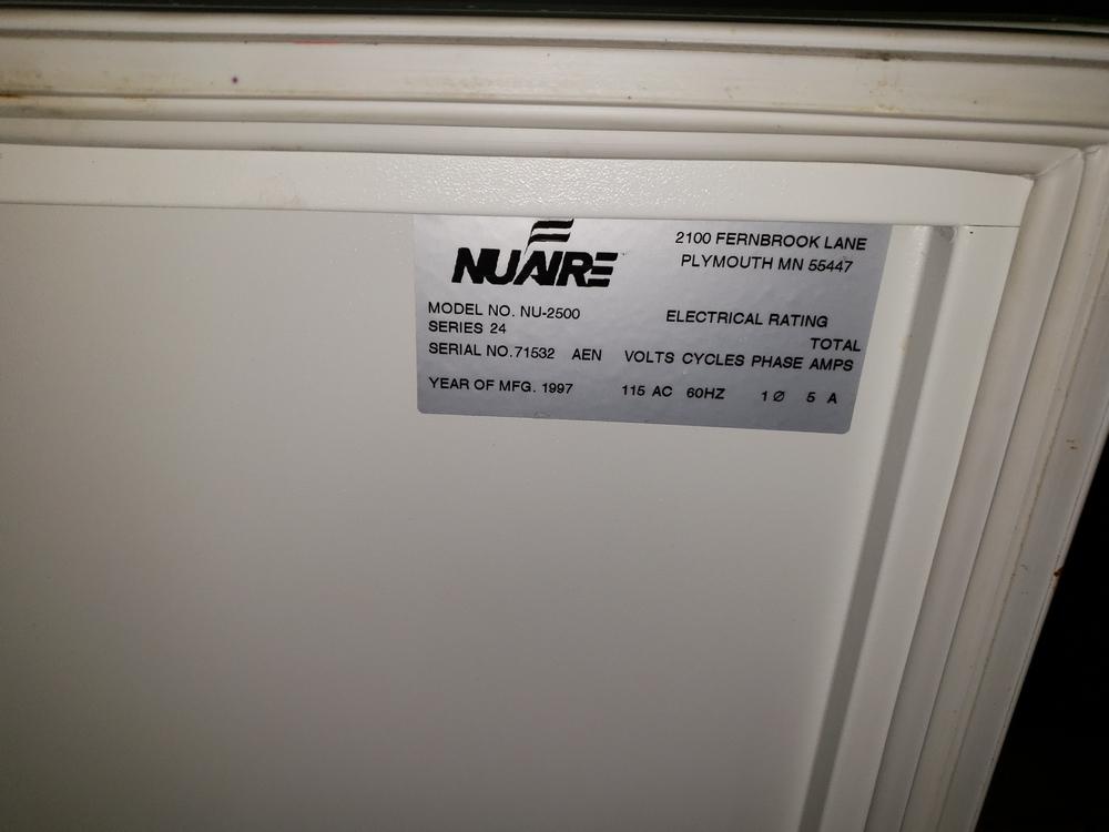 Nuaire IR Autoflow Incubator, model NU-2500, Series 24, water jacketed, serial# 71532. - Image 6 of 7