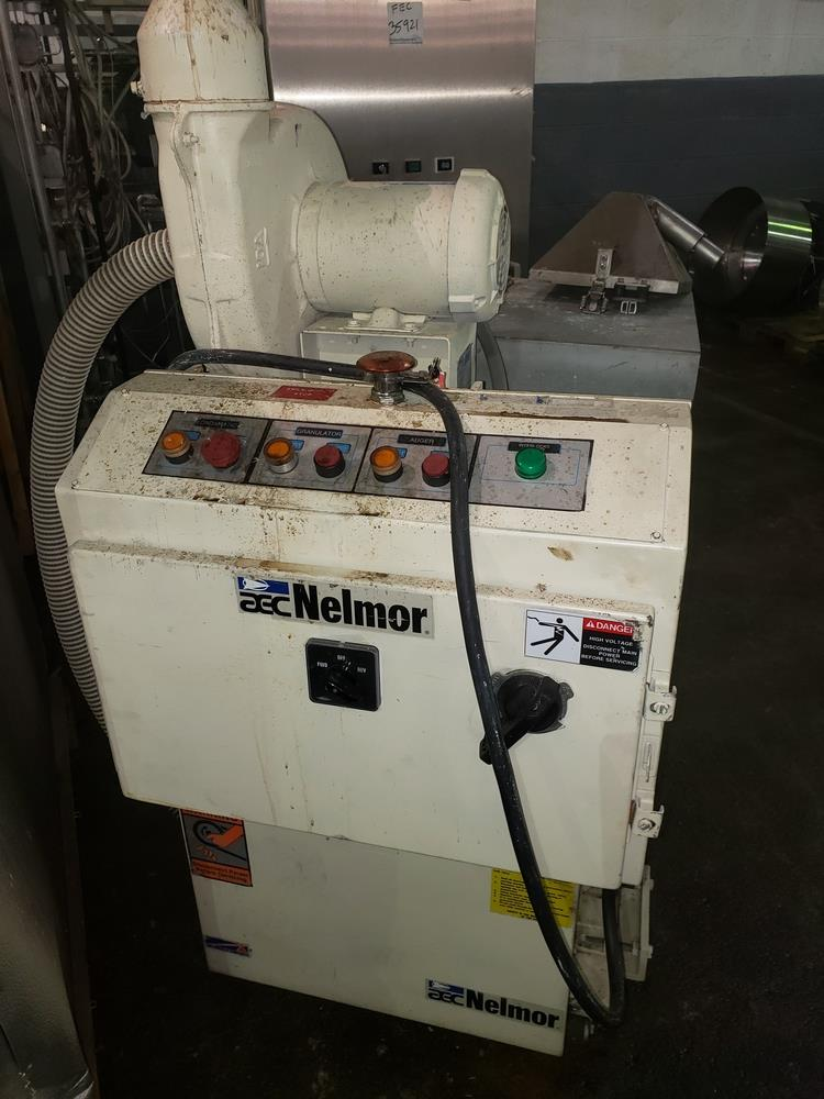 "Nelmor granulator, model F211, 8"" wide feed opening, screw feed, 2 knife rotor, 5 hp, 230/460 volt"