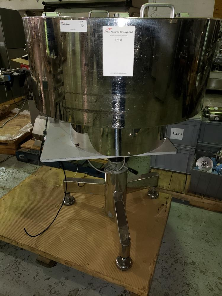 OZAF vibrating bowl feeder, stainless steel construction on stand. - Image 2 of 5