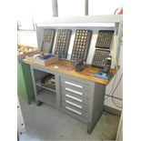 Collets and Workbench. 5-Drawer Workbench with Assorted Flex Collets with Racks. HIT# 2205819. CNC