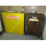 Flam Cabinets. Lot: (2) Flammable Liquids Storage Cabinets with Contents. HIT# 2205841. CNC Room.