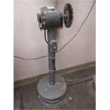 "Polisher. General Electric 5KH45AB2200 Vintage 1/4 HP Electric Motor on Pedestal with 9"" Polishing"