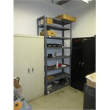 Cabinets with Contents. Lot: (2) Storage Cabinets, (1) 8-Tier Metal Shelving. Contents Include: