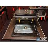 Lot of (3) 8 Qt assorted chafing dishes, rectangular stainless with brass metal handles, 12 x 20
