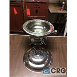 Lot of (3) 2 Qt round silver plated chafing dishes, 9 in. diameter