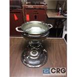 Lot of (2) 3 Qt round silver plated chafing dishes, 10 in. diameter